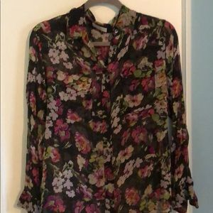 Sheer floral print equipment blouse